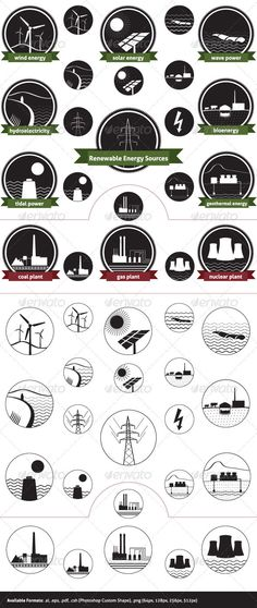 """Renewable Energy Sources  #GraphicRiver        Icon pack of sustainable energy generation and the three main non-renewable energy sources today.  Files Included:    Outlined Illustrator file (.ai)  """"Raw"""" Illustrator files  Encapsulated PostScript file (.eps)  Photoshop Custom Shapes (.csh)  Transparent PNG files in four different sizes: 512px, 256px, 128px, 64px.   The set covers the seven main renewable electricity sources today:    Wind Energy  Solar Energy  Wave Power  Hydroelectricity…"""