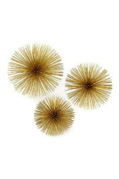 """Beautiful brass starbursts add pizzazz to your space! Made to display on walls, but also look great displayed on tabletop.    Sizes are 6"""", 8"""", 12"""".   Gold Starburst Set by Two's Company. Home & Gifts - Home Decor - Wall Art Texas"""