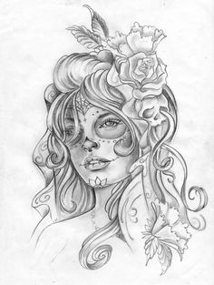 black and white sugar skull girl tattoo Rock Tattoo, Mädchen Tattoo, Symbol Tattoos, Cover Tattoo, Body Art Tattoos, Feather Tattoos, Tattoo Crown, Garter Tattoos, Rosary Tattoos