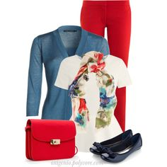 Red, white and blue, created by oxigenio on Polyvore
