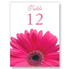 Simple pink gerber daisy wedding table number card. #weddings