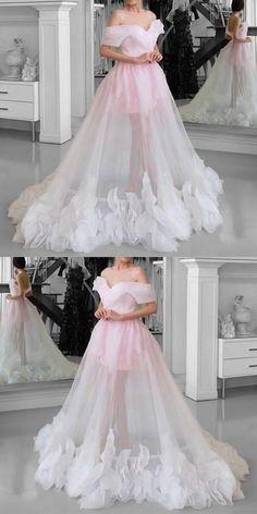 Pink Tulle wedding dressSee Through Prom Dresses Off Shoulder bridal dress floor length party gowns Cute Prom Dresses, Homecoming Dresses, Pretty Dresses, Bridal Dresses, Dress Prom, Dress Long, Long Dresses, Bridesmaid Dresses, Maxi Dresses