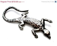 30% Off Sterling Silver Iguana Brooch by TheJewelryLadysStore