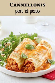 Découvrez notre recette de cannellonis à la chair de saucisses et pesto piquillo! Petit plus: elle se congèle très bien. Parfait pour prendre de l'avance! Pesto, Sauce Tzatziki, Sauce Barbecue, Lasagna, Veggies, Ethnic Recipes, Dire, Food, Parfait