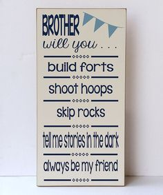 Vinyl Crafts Cream & Navy Brother Will You Wall Sign | zulily