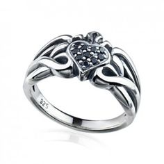Magical Power series-Sterling Silver & Black Zircon Heart Ladies Ring