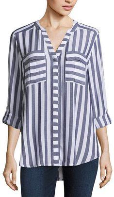 a Long Sleeve Roll-Tab Pleat Pocket Blouse - JCPenney Fashion Updates, Fashion Studio, Kurti, Sleeve Styles, Tunics, Boutique, Blouse, Lady, Long Sleeve