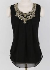Comfy Round Neck Sleeveless Black T Shirts for Woman