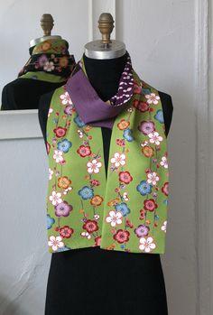 Silk Kimono Scarf, Amazing Japanese Vintage versitile scarf, Vintage Yuzen-dyed fabric, Shidare-ume, Green by Wabiske on Etsy https://www.etsy.com/listing/286242847/silk-kimono-scarf-amazing-japanese