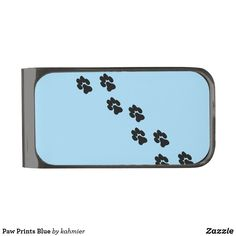 Paw Prints Blue Gunmetal Finish Money Clip