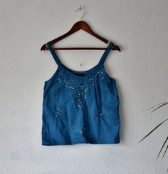 Indigo blouse top vibrant blue upcycled by EthicalLifeStore