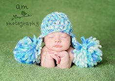 Newborn Double Pompoms Earflap Hat   Craftsy