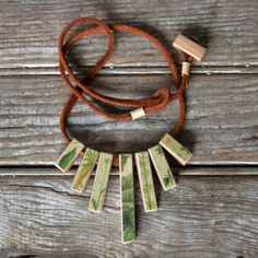 Botanical Wood and Leather Necklace 7 Blocks by Peg by PegandAwl