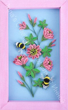 Bumblebees and flowers. Quilling by Inna's Creations