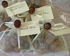 Wedding Favors - Small Pinecone Sachets in Organza Bag #pinecones #WeddingFavors #PineConeLady