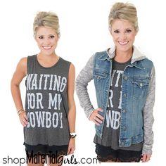 Waiting for my cowboy graphic tee! Denim sweatshirt hoodie! cute style.
