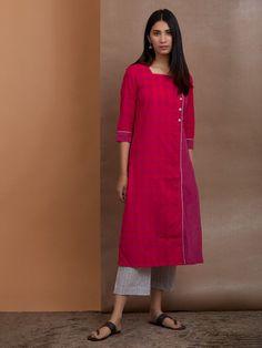 Pink Cotton Checkered Kurta with Grey Striped Pants - Set of 2 Salwar Designs, Kurta Designs Women, Western Wear Dresses, Kurta Patterns, Kurti Embroidery Design, Kurta Neck Design, Fancy Blouse Designs, Frocks For Girls, Indian Designer Outfits