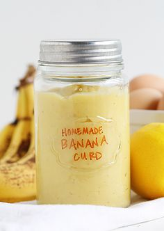 Fresh Banana Curd ~ http://iambaker.net Banana Recipes, Banana Spread Recipe, Banana Sauce Recipe, Banana Custard Recipe, Homemade Banana Pudding, Banana Jelly, Banana Quark, Banana Jam, Banana Syrup