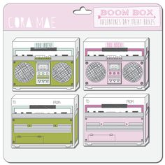 Boom box Valentine treat box printables. Instant download. For boy or girl. 300 dpi resolution. #valentinesday #vintage #boombox #printables