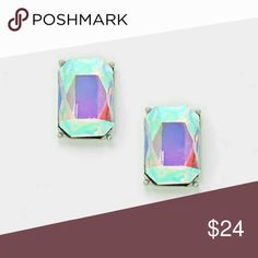 """Las Viva Divas [Newest Collection] Color : Rhodium Plated, Aurora Borealis •Size : 0.4"""" W, 0.6"""" L •Post Back, Hypoallergenic •Emerald cut crystal rhinestone stud earrings   .Ask About Custom Bundles.   .Poshmark Rules Only. No Trades. .Does Not Model. .Additional Pics Available as Time Allows. goodchic  Jewelry Earrings"""