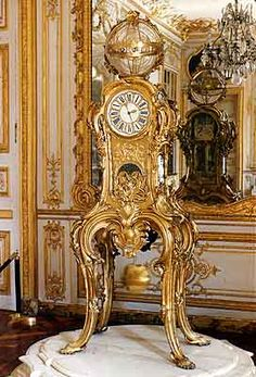 The model by Passement and Caffieri for Louis XV in the Clock Room at Versailles. Our Highly Important Antique Louis XV Style Astronomical Regulator Clock Attributed to François Linke was produced after this wonderful model.