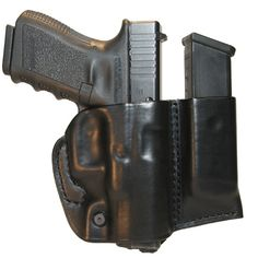 This holster is no bigger than most slide holster designs, yet it gives you the added benefit of having a spare mag at your fingertips. Its flex design hugs the waistline and offers a snug, compact fit while its open bottom is ideal for weapons of varying lengths.• Unique cut allows full combat grip yet safely covers trigger guard• Available for single-stack and double-stack model pistols• Molded detent helps keep magazine in place• Mag position won't interfere with draw or re-holster• Rear…