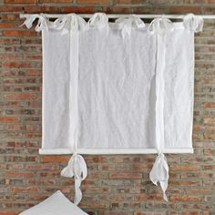 Bow Ties Pure Washed Ready Made Linen Curtains