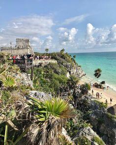 "Erin I. 🌸 on Instagram: ""A week ago in Tulum #tulumruins #mayanruins"" Tulum Ruins, Mayan Ruins, Mesoamerican, Riviera Maya, Tourism, Coastal, Mexico, Activities, Water"
