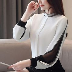 Women Chiffon Blouse Diamonds New 2020 Sexy Casual Hollow out Mesh korean Shirt Elegant Slim Stand Collar Women Tops blusa : Casual Attire For Women, Casual Tops For Women, Blouses For Women, New Western Dress, Korean Shirts, Korean Blouse, Sleeveless Swing Dress, Sleeveless Tops, Cream Lace Top