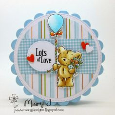 Lili of the Valley sneak peek of one of the cuties from the Happy Bear clear stamp sheet that is being released on 31 January 2015 Baby Cards, Kids Cards, Tiddly Inks, Kids Birthday Cards, Shaped Cards, Beautiful Handmade Cards, Card Patterns, Animal Cards, Pretty Cards