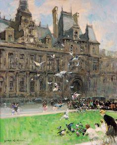 Jules-René Hervé - Nourrir les pigeons, les Tuileries