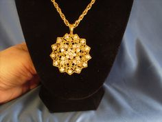 Reduced Vintage circle medallion rhinestone necklace by DEJAVU143, $16.99