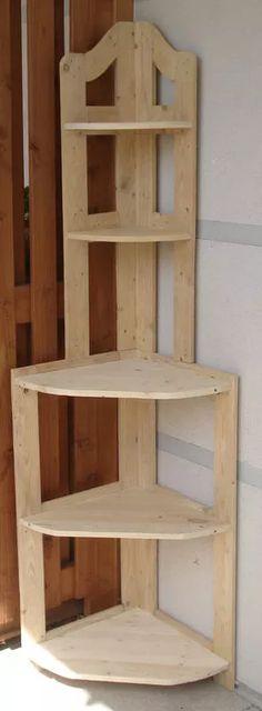 Pallet Shelves Projects 66657195 DIY Pallet Corner shelf in pallet furniture with Shelves Pallets Corner: - Corner shelf made of pallets wood. Pallet Crafts, Diy Pallet Projects, Wood Projects, Woodworking Projects, Pallet Ideas, Pallet Bar, Outdoor Pallet, Pallet Wood, Pallet Benches