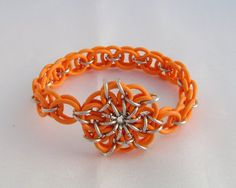 Orange Celtic Flower Chainmaille Bracelet by Krystal Ring Kreations