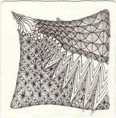 Ein Zentangle aus den Mustern Zigazigah, JJ, Xav, Hula Berry gezeichnet von Ela Rieger, CZT