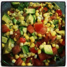 fresh corn, avocado, tomato salad with cilantro and honey lime vinaigrette #delicious