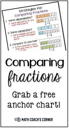 Comparing Fractions Anchor Chart - Math Coach's Corner Students need multiple strategies for comparing fractions, based on reasoning and fraction sense. Grab a *FREE* anchor chart students can use as a reference! Comparing Fractions, Teaching Fractions, Teaching Math, Ordering Fractions, Equivalent Fractions, Maths, Math Literacy, Teaching Strategies, Math Teacher