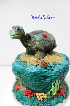 """""""George"""" The Galapagos tortoise for Animal Rights collaboration. - Cake by Natalia Salazar Tortoise Food, Robin, Pear Blossom, Russian Tortoise, Ice Plant, Spring Mix, Fancy Cakes, Crazy Cakes, Cake Art"""
