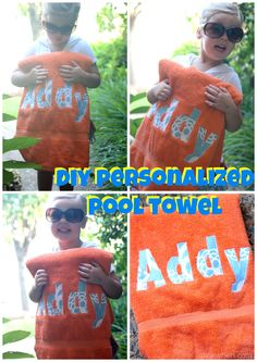 SEW EASY tutorial on how to make a personalized pool towel and create smiling happy kids like the one above!
