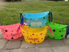Personalized oval tub - Easter basket, gift basket, name, initial or monogram, polka dots or custom design, baby gift basket. $12.00, via Etsy.