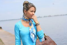 IMG_6040 by scarfcaps, via Flickr Silk Neck Scarf, Head Pieces, How To Wear Scarves, Running Training, Flight Attendant, Neck Scarves, Ascot, Scarf Styles, Simple Style