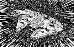 Star Wars Black & White Drawings