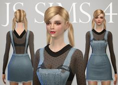 My Sims 4 Blog: Denim Skirt Overalls by JS Sims 4 Js Sims 4, Sims 4 Teen, My Sims, Sims 4 Blog, Overall Skirt, Sims4 Clothes, Sims 4 Game, Sims 4 Clothing, Sims 4 Update