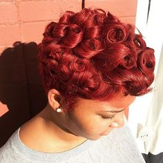 STYLIST FEATURE| Love the bright red color on this #pixiecut ✂️ styled #njstylist @rubyredroots ❤️ Spicy  #voiceofhair