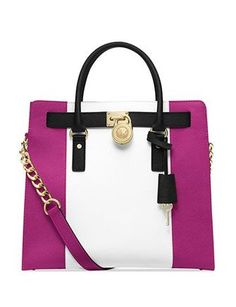 MICHAEL MICHAEL KORS MK Hamilton Center Stripe Colorblocked East West Large Satchel Tote