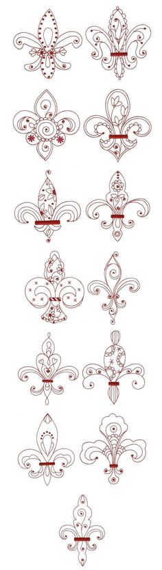 fleur de lis redwork designs by juju by letha Machine Embroidery Designs, Embroidery Stitches, Embroidery Patterns, Hand Embroidery, Quilting Patterns, Crazy Quilting, Tattoo Painting, Stencils, Motif Floral