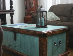 Turquoise and Dark Stain Trunk Distressed and Antiqued.  Refurbished by My Three Cs www.facebook.com/mythreecs Costal Decor, Western Decor, Shabby Chic, Home Decor, Chest, Treasure Chest