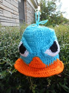 Crocheted character hat inspired by Agent P by SubasJandSualyJShop, $23.00