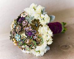 "Mixed Media ""Brooch"" Wedding Bouquet + Fresh Florals & Dusty Miller"