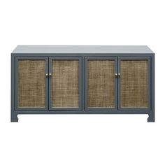 $1,875 %8W x 18D x  30H Four Door Cane Cabinet with Brass Hardware in Grey Lacquer Finish